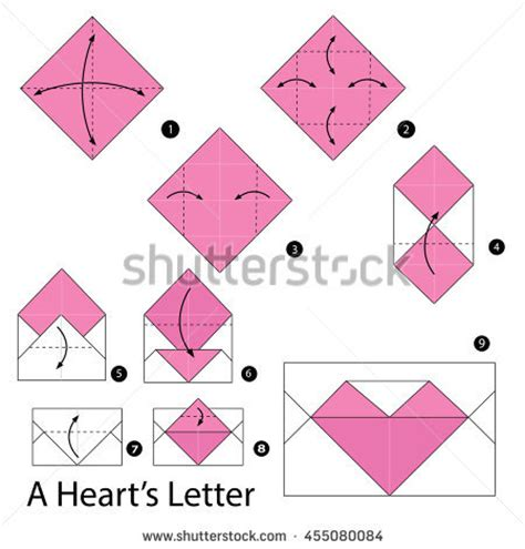 How To Make Origami Letters - step by step how make stock vector 455080084