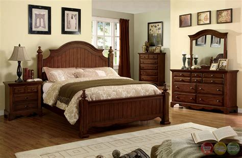palm coast distressed light walnut panel bedroom set with