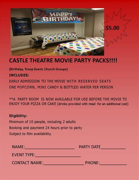 Theatre Gift Cards Manchester - parties events castle theatre of manchester iowa