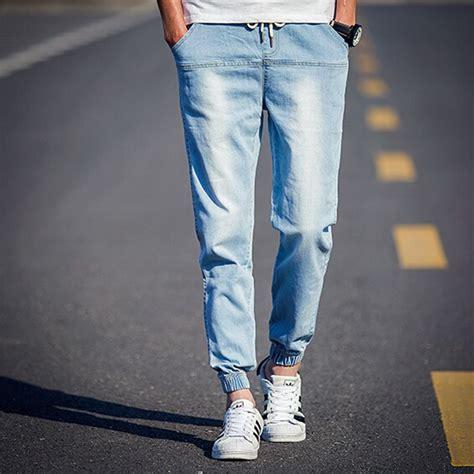 light blue jean joggers 2016 brand clothing mens elastic waist light blue