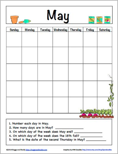 may calendar for kids free printable buggy and buddy