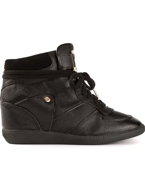 michael kors wedge sneakers black michael michael kors concealed wedge hi top sneakers in