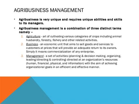 Agribusiness Management by Distinctive Features Of Agribusiness Management And The Importance Of