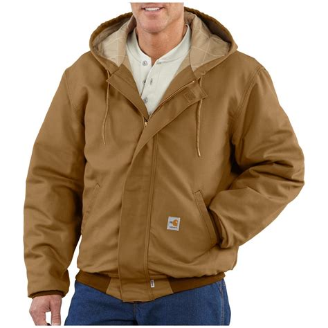 Jaket Canvas Brown Hoodie carhartt 174 resistant quilt lined canvas active jacket 184591 insulated jackets coats