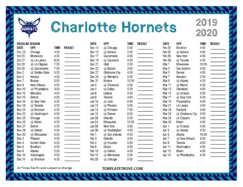 printable   charlotte hornets schedule