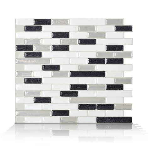 smart tiles 6 pack white glossy composite vinyl mosaic