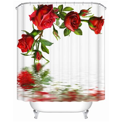 red rose curtains waterproof bathroom shower curtain open red rose in the