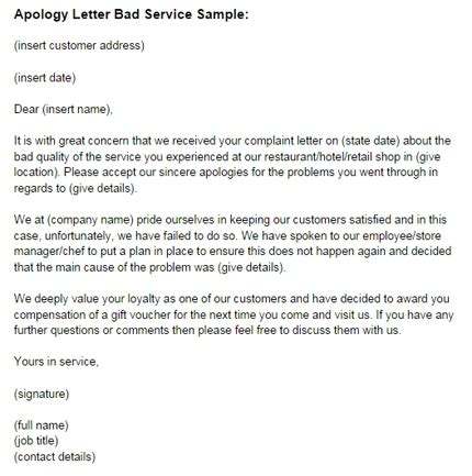 business letter of apology for poor service apology letter for bad service sle just letter