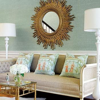 sunburst mirror sofa capiz drum pendant contemporary s room tracy