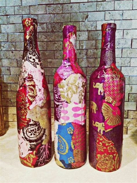 Decoupage Wine Bottles - lokta paper decoupage on wine bottle in your by