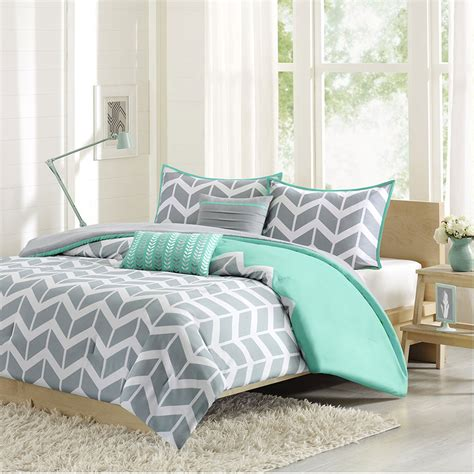 Nadia Gray And Teal Four Piece Twin Twin Xl Comforter Set Xl Bedding