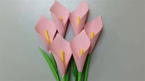 How To Make A Flower In A Paper - sabwap how to make calla paper flower easy
