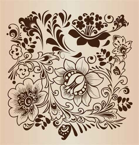 decorative vintage pattern with floral elements vector decorative flower pattern vector illustration free
