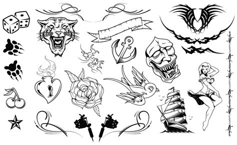 new school tattoo vector tattoos vector pack