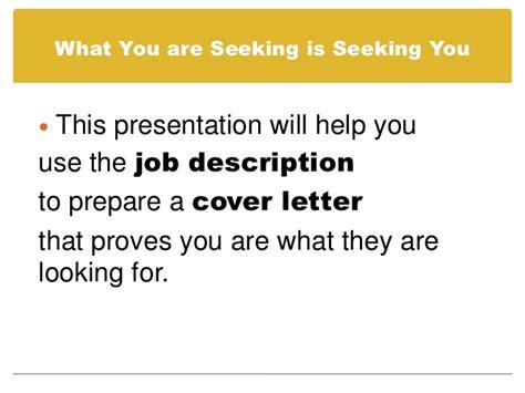 prepare a cover letter using a description