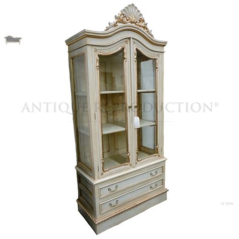 Antique French Bookcase Chippendale Glass Cabinet 2 Door Antique Reproduction
