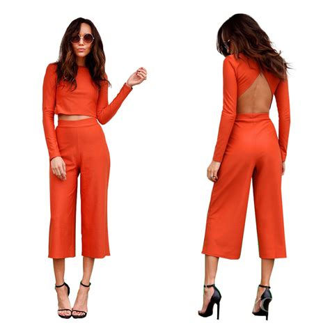 orange 2 set jumpsuit autumn sleeve crop top calf length wide leg playsuit