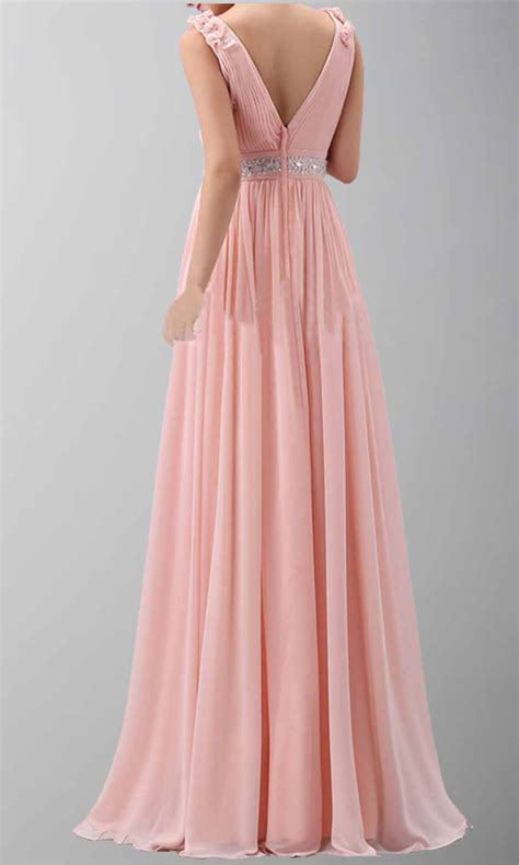 flower shoulder belt v neck chiffon prom dress ksp166