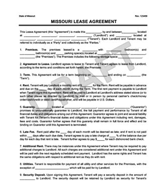 Missouri Residential Lease Rental Agreement Create Download Missouri Lease Agreement Template