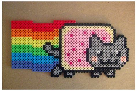 perler cat designs nyan cat made from perler this can be used for a