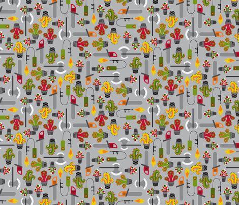 fabric pattern tools monstrous gardening tools fabric petitspixels spoonflower