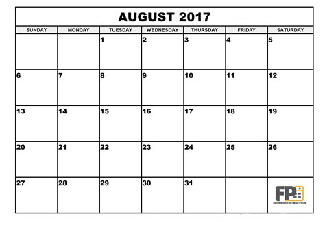 Calendar 2017 Pdf In Free Blank August 2017 Calendar Pdf Printable Template