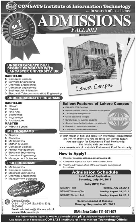 Comsats Mba by Comsats Institute Of Information Technology Admissions