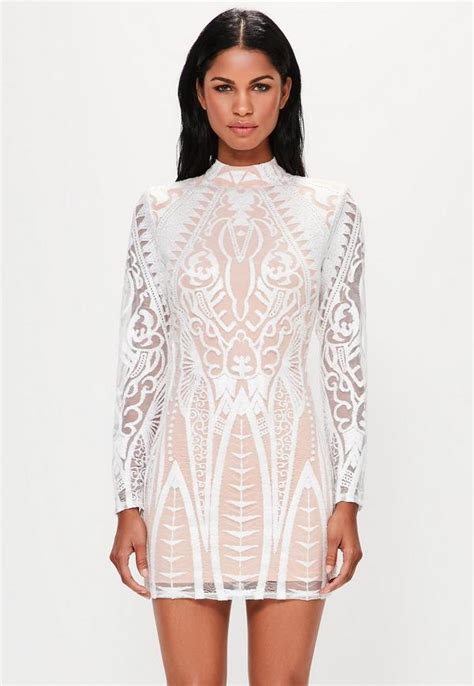 White Neck Dress peace white placed lace high neck mini dress missguided