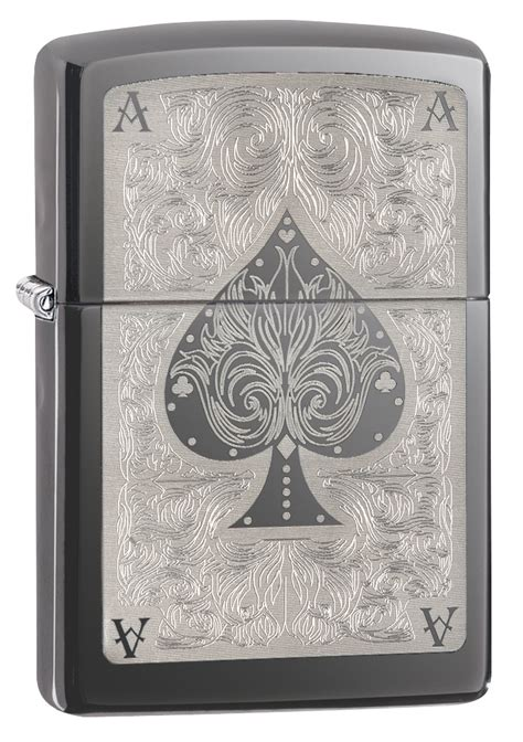 Ace Gifts And Cards Catalogue - zippo windproof lighter black ice ace filigree spades poker card gift box 28323
