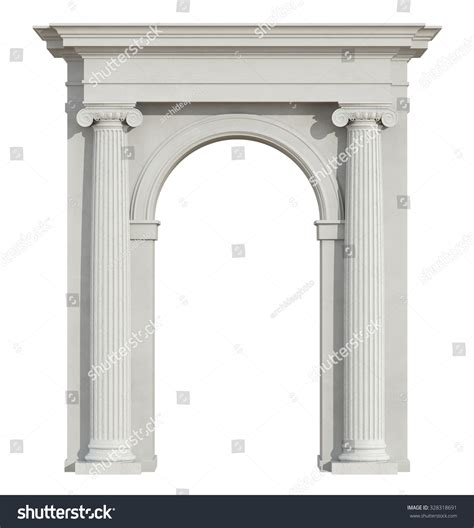 pillar the column supporting the arch for the home front view classic arch ionic column stock illustration