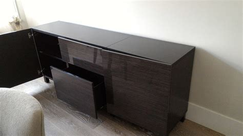ikea besta storage as custom buffet for the dining area