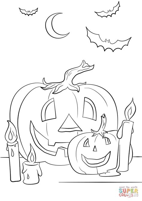 bats and pumpkins coloring pages halloween scene with pumpkins candles and bats coloring