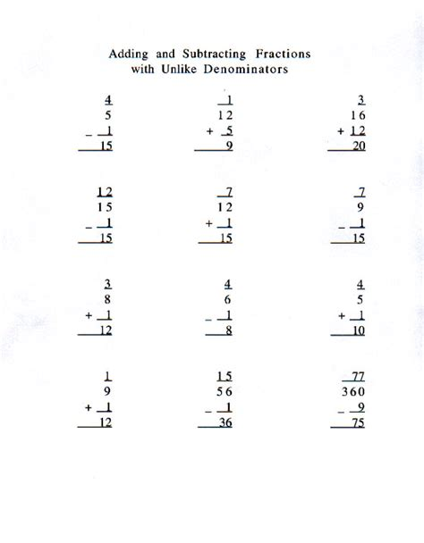 Subtracting Unlike Fractions Worksheets by Adding Fractions With Unlike Denominators Kelpies