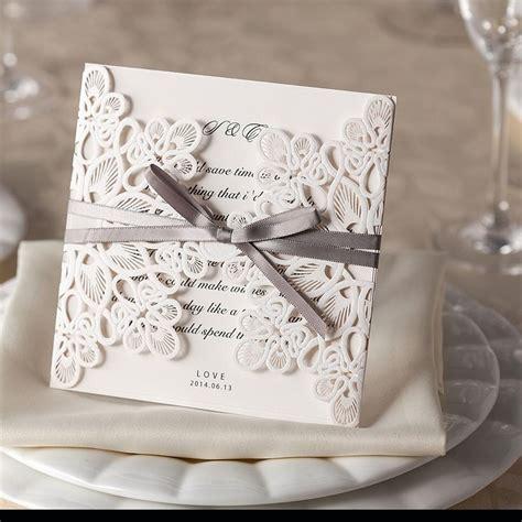 ribbon and lace laser cut wedding invitations diy wedding invitations