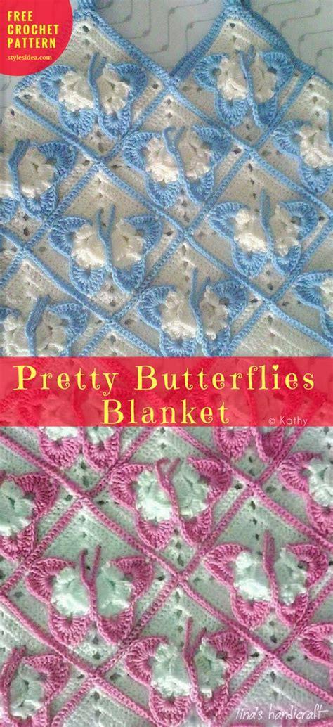 website reading pattern pretty butterflies blanket free crochet pattern diy