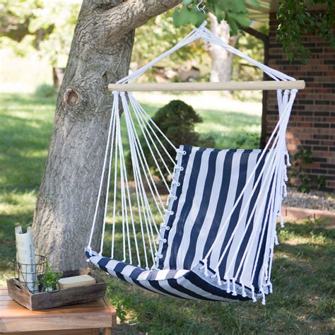 hammock swing chairs the ultimate padded mesh hanging chair navy stripes