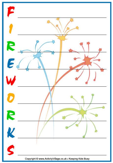 Firework Shape Poems Template by Fireworks Acrostics
