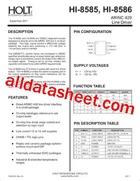 integrated circuits datasheet pdf hi 8586psif datasheet pdf holt integrated circuits