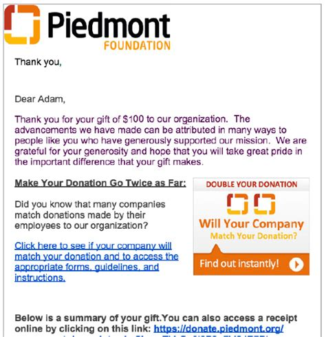 Donation Letter Email highlight matching gifts in acknowledgement letters