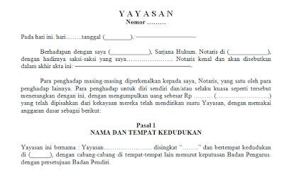 pendirian yayasan keagamaan contoh surat resmi akta pendirian yayasan format word