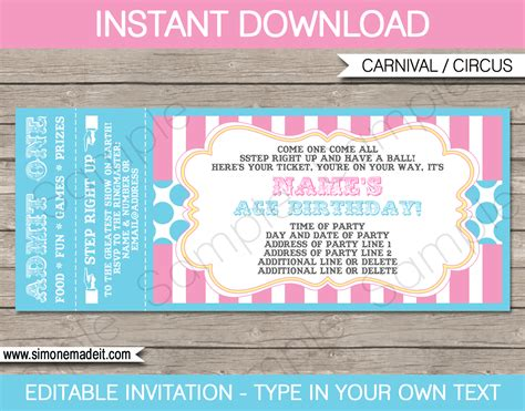 Carnival Party Ticket Invitations Template Carnival Or Circus Pink Aqua Ticket Invitation Template Free