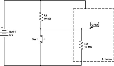 pull up resistor calculations what are the mechanisms at work in a pull up or pull resistor circuits with a push buttons