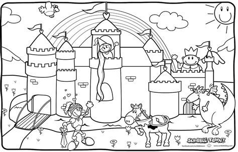 coloring page of a princess castle knights coloring page az coloring pages