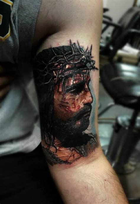 jesus thorn tattoo portrait of jesus crown of thorns tattoo ideas tattoo
