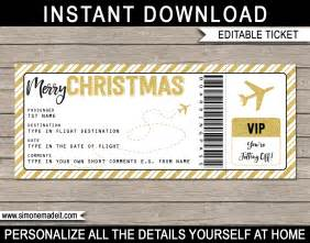 printable christmas gift plane ticket template editable