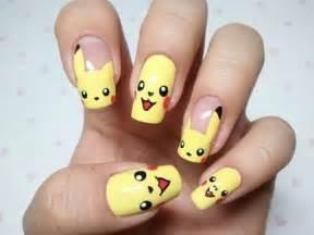 cool girly and cute nail art pikachoo pokimon image