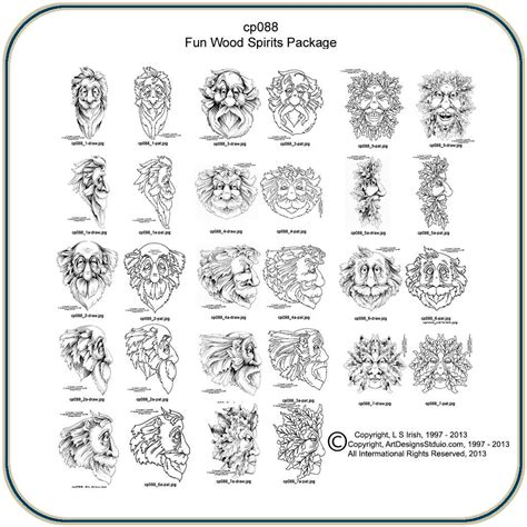 free carving patterns fun wood spirits and greenmen pattern package by lora s