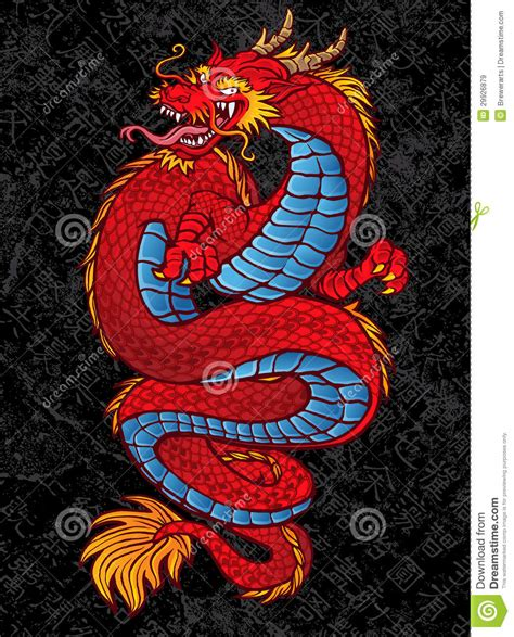 red chinese dragon tattoo on black stock vector