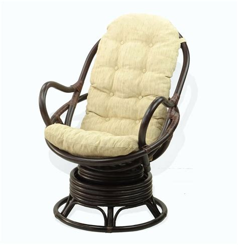 swivel rocking chair java eco handmade rattan  thick cushions dark brown ebay