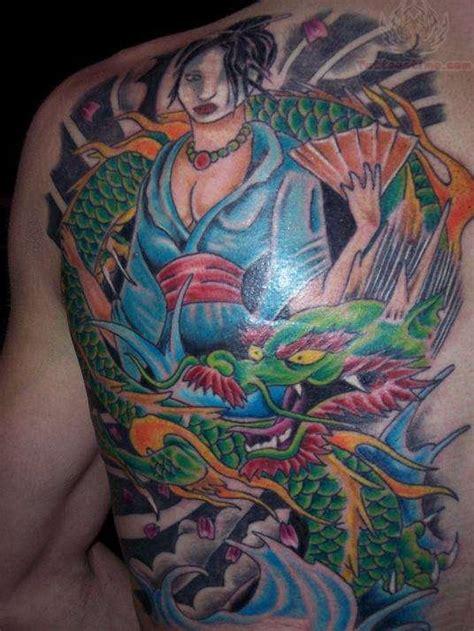 tattoo geisha dragon dragon and geisha tattoo anime